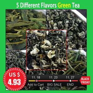 2020 5 Different Flavors Green Tea Organic Food Include Dragon Well, Maojian, Maofeng, Jasmine Tea 46g In Total