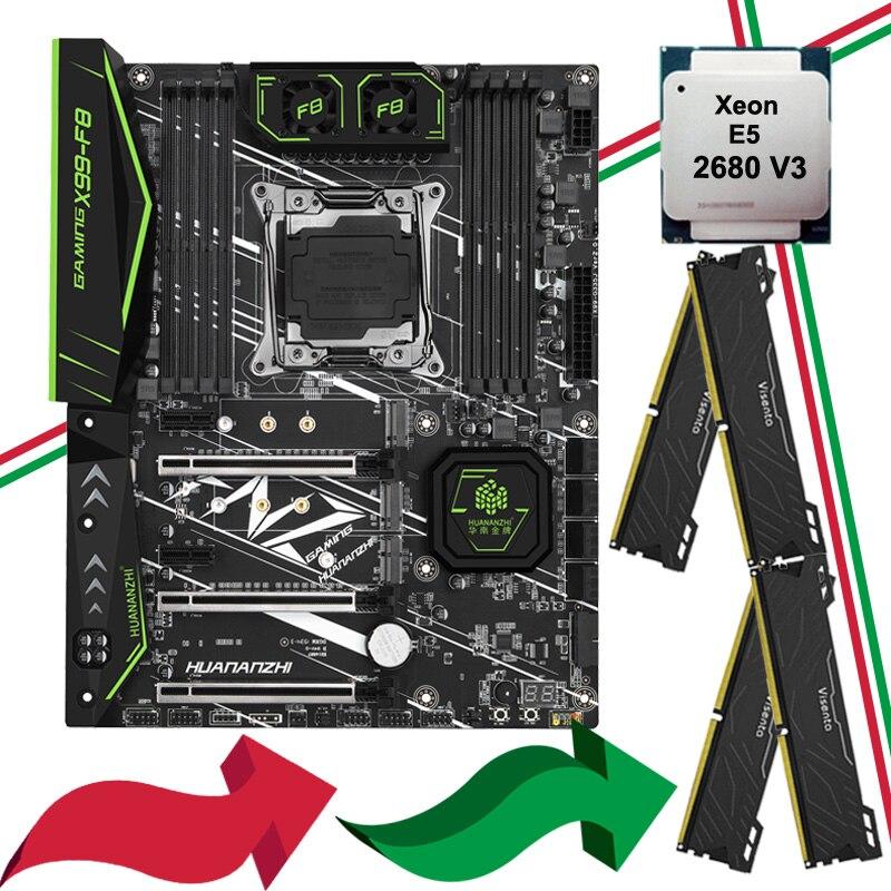 Nouveauté HUANANZHI X99-F8 carte mère bundle double M.2 NVMe emplacement SSD M.2 WIFI CPU Intel Xeon 2680 V3 RAM 64G (4*16G) DDR4 2400