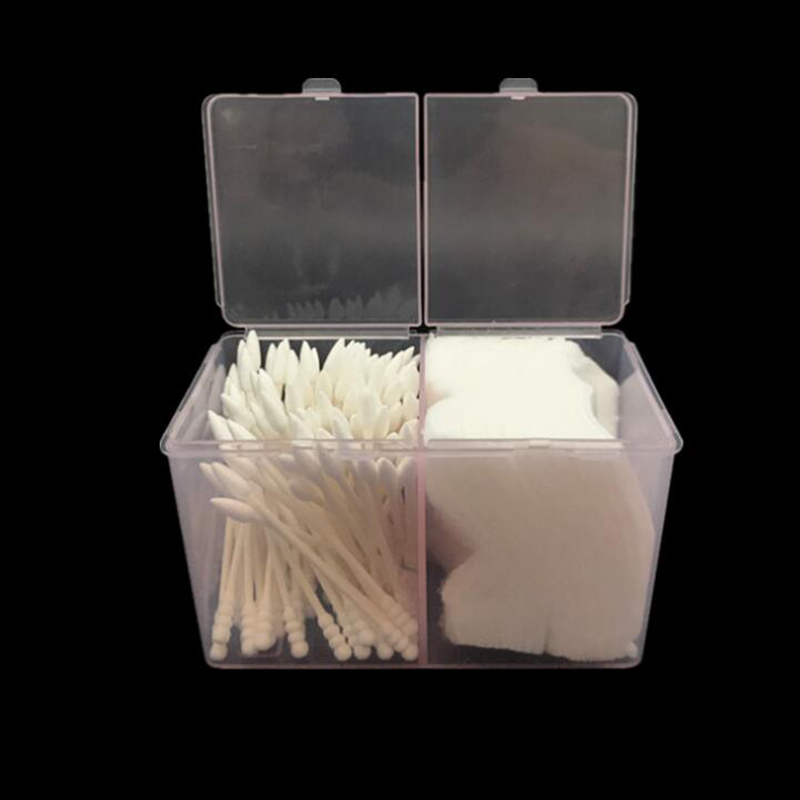 Nail Art Plastic Clear Organizer Container Gel Polish Remover Cleaning Cotton Pad Swab Box Storage Case Accessories Tool