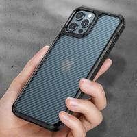 Funda rígida de fibra de carbono transparente para iPhone, funda protectora anticaídas de lujo, texturizada, para iPhone 12 11 Pro Max xr x xs max 7 8p