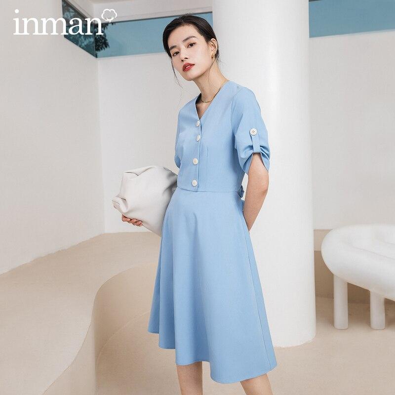 INMAN Office Style 2020 Summer New Arrial Single-breasted Short Sleeve Elegant Dress