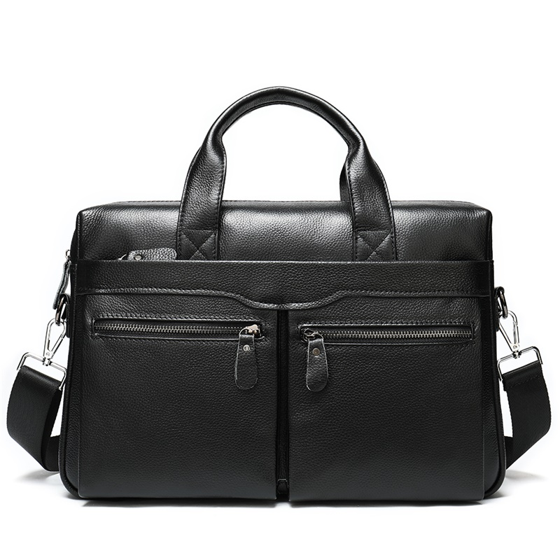 Business Men's Briefcase For Laptop Messenger Bag Men Leather Genuine Laptop Bags For Men Cow Leather Mens Bag Briefcase    9006