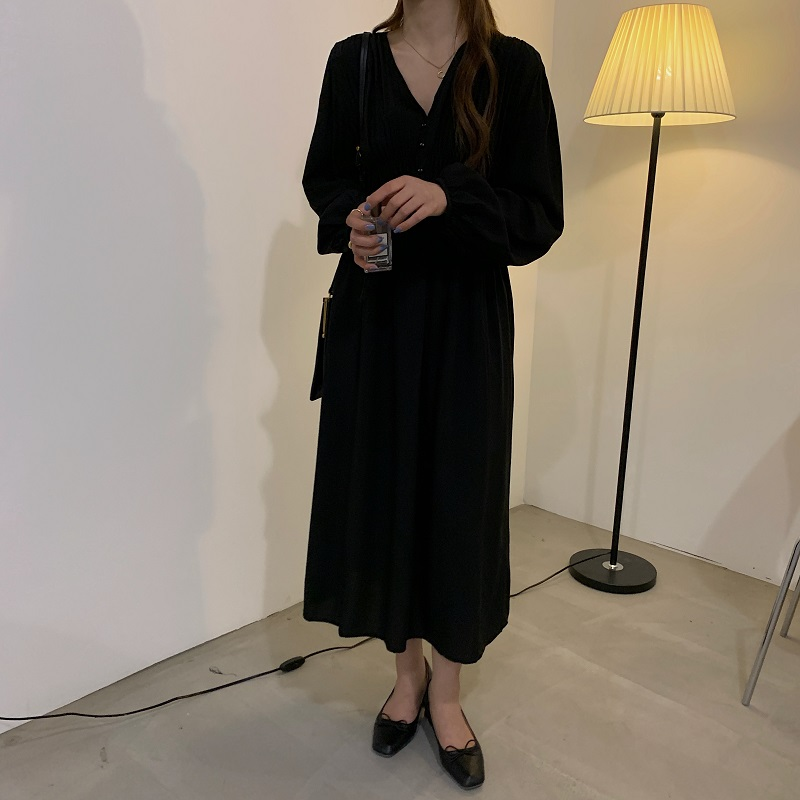He3280c819a1d4895a998096dd95d2f46b - Autumn V-neck Long Sleeves Pleated Waist-Controlled Solid Loose Dress