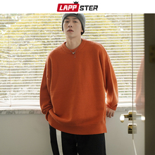 Knitted Sweaters LAPPSTER Vintage Pullover Couple Harajuku Japanese Warm Black Men Solid