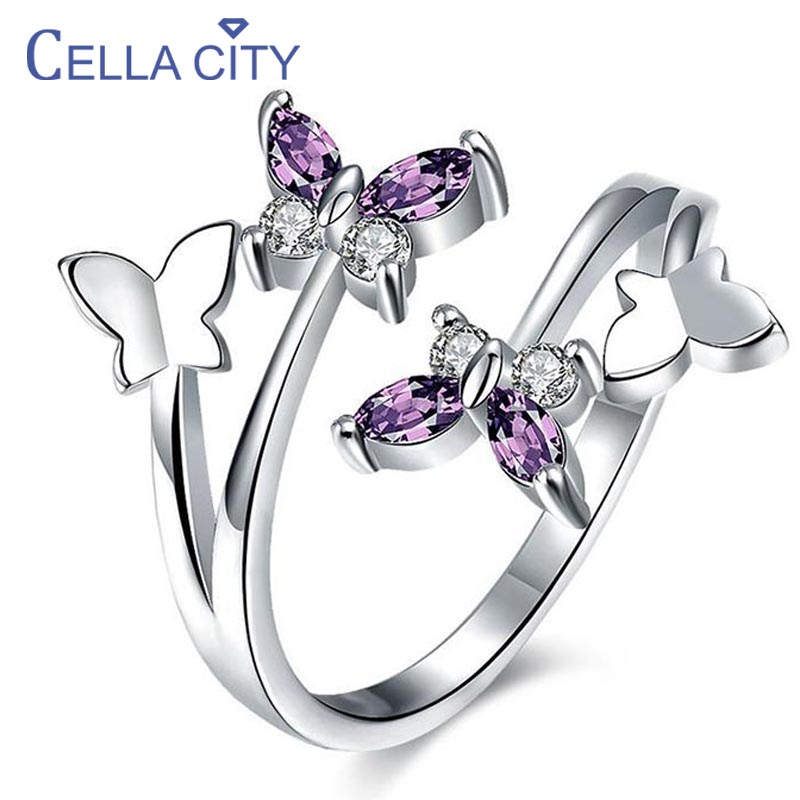 Cellacity Korean Butterfly Opening Ring With Amethyst Gemstone  925 Silver Women Finger Ring  Anniversary Gifts  Wholesale