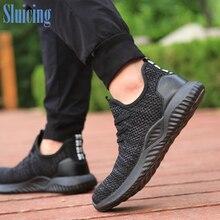 DEWBEST עבודת עבודת נעליים לנשימה אופנתי ספורט בטיחות נעלי הגנה, בטיחות מגפי נעליים לגברים