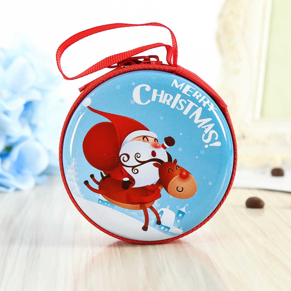 Natal Ferro Papai Noel Dos Desenhos Animados Coin Purse Key Case Wallet Crianças Boneco De Neve Saco de Fone De Ouvido Organizador Moeda Saco