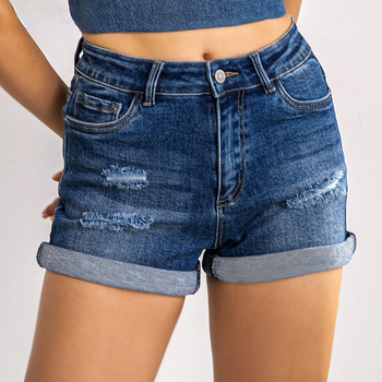 Denim Skinny Shorts Women High Waist Jean Plus Size Ripped Casual Slim Female Short Fashion Elastic Blue Washed Ladies Summer 1