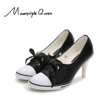 2019 New Luxury Brand Women fashion leather shoes lace up high heels zapatos lace up sexy high heels ladies shoes women pumps