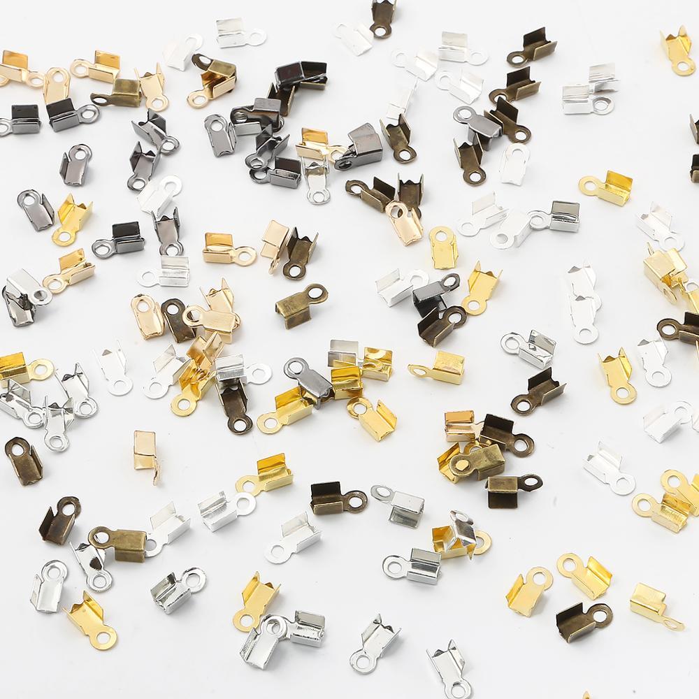4 conjuntos de Rodio Plata Esterlina 925 1mm//2mm cordón de cuero Tapa de extremo Langosta Broche