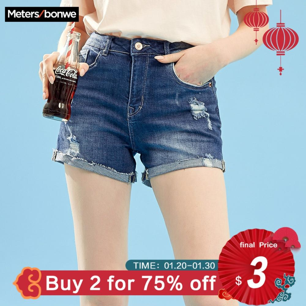 Metersbonwe Denim Shorts For Women Hole Jeans 2019 New Summer Trendy Casual  High Waist Short Pants Fashion Brand Short Jeans
