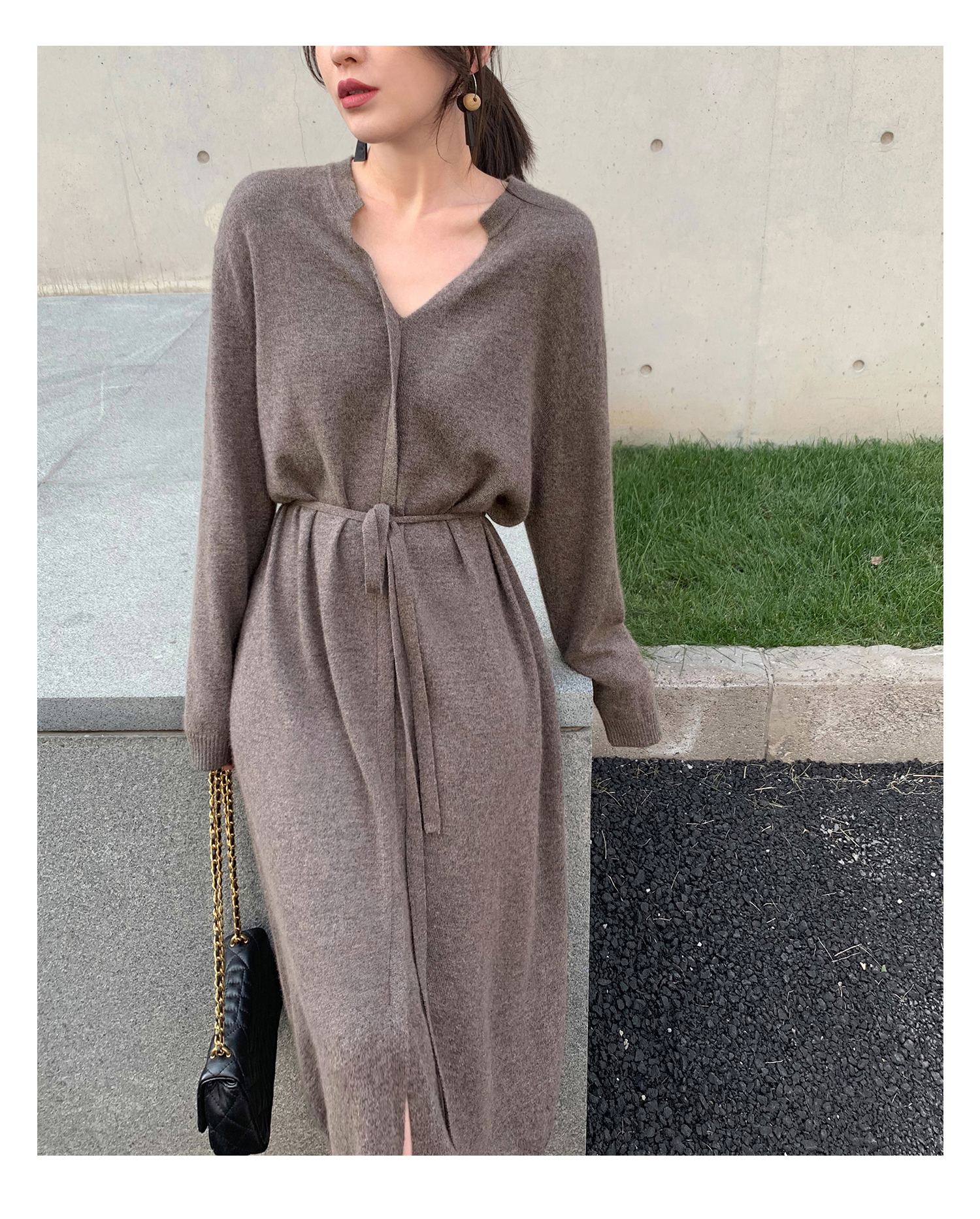 Woman dress elegant pure color 2020 autumn new loose mid-length knit v-neck full sleeve casual cardigan dress female платье