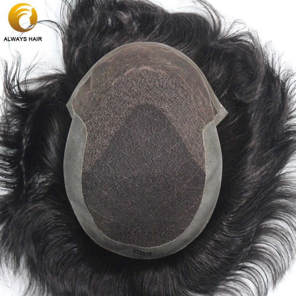 Dentelle française de toupet des hommes respirants durables avec le système indien de cheveux de revêtement de Poly hommes 7 tailles de Nuit de cheveux