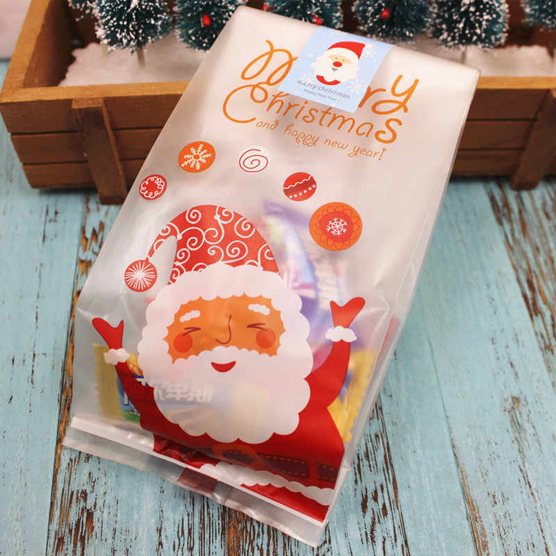 50 قطعة عيد الميلاد حقيبة سانتا كلوز ثلج السيلوفان كوكي الهراء الحلوى هدية عيد ميلاد سعيد البسكويت الحلوى حقيبة