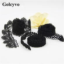 1Meter Water Soluble Black Embroidery Lace Trims Edge Wedding Dress Skirt Clothing DIY Sewing Crafts Charms