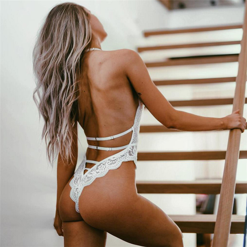 Kaguster Neckband Sexy Backless Lace Jumpsuit Lingerie  Teddy Bodysuit Sheer  Clothing Spandex Deep V Bodystocking