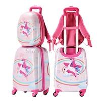 Kinder Gepäck set Nette Cartoon reise koffer mit rädern rucksack 20'' mädchen schule trolley gepäck tasche kinder geschenk kabine