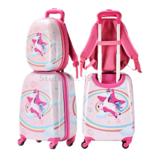 Luggage-Set Backpack Trolley Travel-Suitcase Cabin Children's Wheels Cartoon Cute