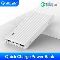 Orico 20000 mah qc 3.0 power bank portátil de duas vias de carregamento rápido 18 w saída máxima bateria externa para xiaomi samsung
