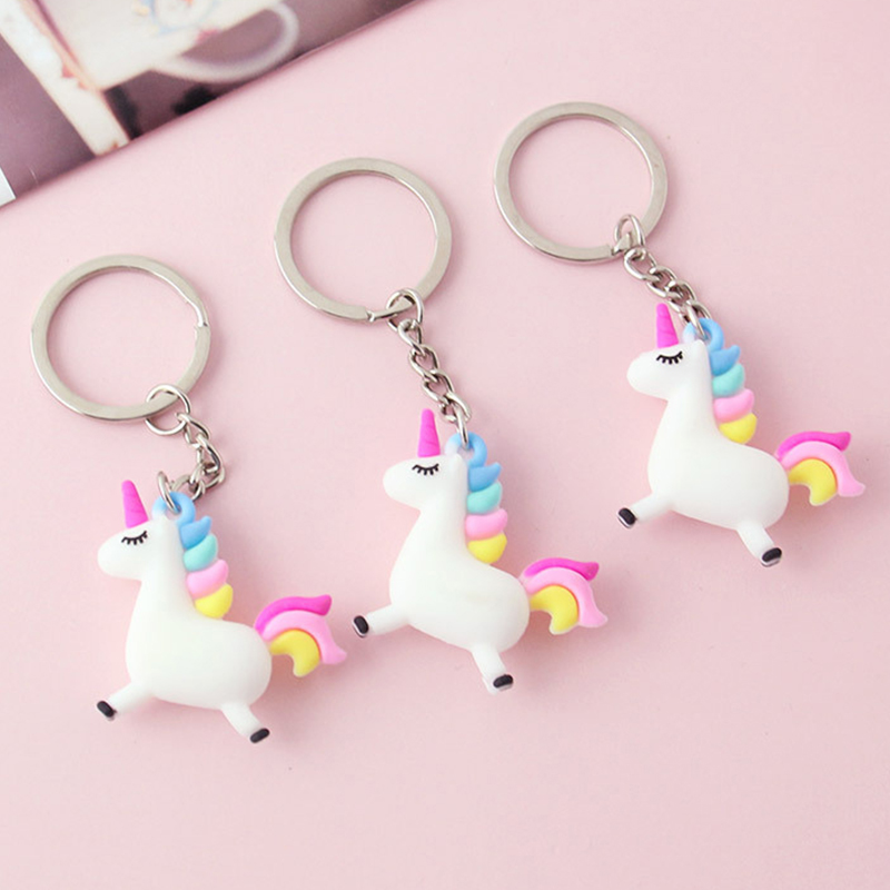 Silicone Small Unicorn Pendant Kawaii Plush Keychain Peluch Pom Pom Fluffy Fur Key Pendant Small Toys Kids Gift Licorne Key Ring