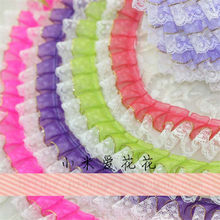 2Meters 20Colors DIY Chiffon Double Layer Pleated Lace Trim Curtains Bedspreads Pillowcases Clothes Lace Edge Dolls Skirt 3.5cm(China)