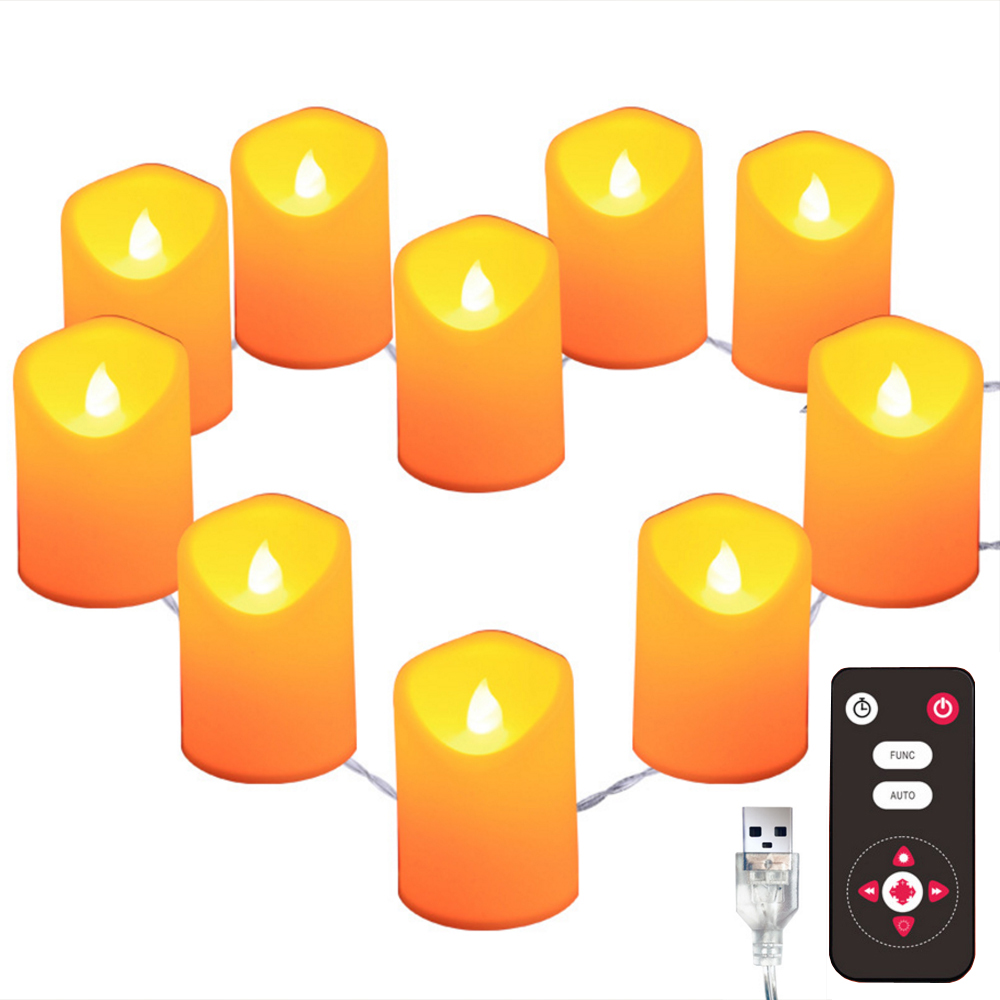 LED Candle String Light Flameless Warm White Bright Tealights USB/Battery Powered With 8key Remote Control Night Lights