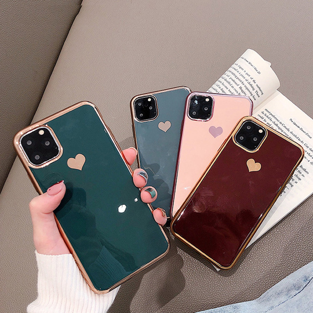 KJOEW Electroplated love heart Phone Case For iPhone 11 Pro Max XS Max XR X 7 8 6 6S Plus Shockproof Protective Back Cover capa