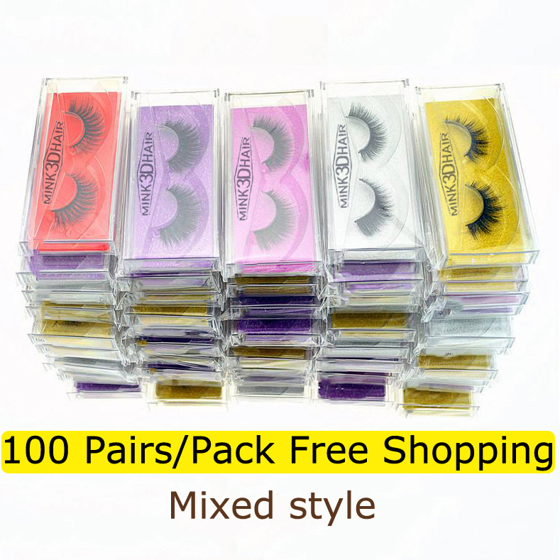 Wholesale Eyelashes 20/30/50/100 Pairs Mink Eyelashes Natural False Eyelashes Hand Made Makeup Dramatic Long 3d Mink Lashes Bulk