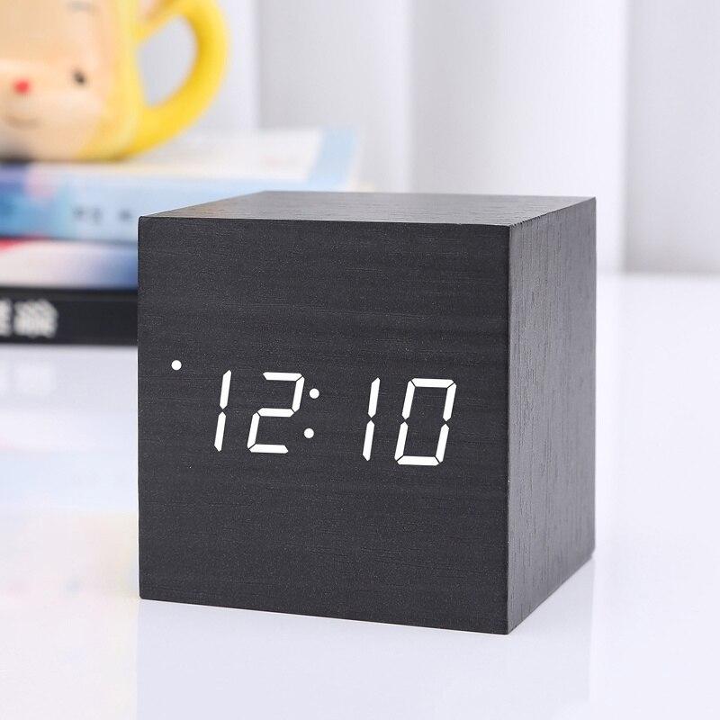 Mini Wooden Square Car Clock Electronic Clock Voice Control Digital LED Alarm Clock Luminous Auto Car Windshield Car Accessories