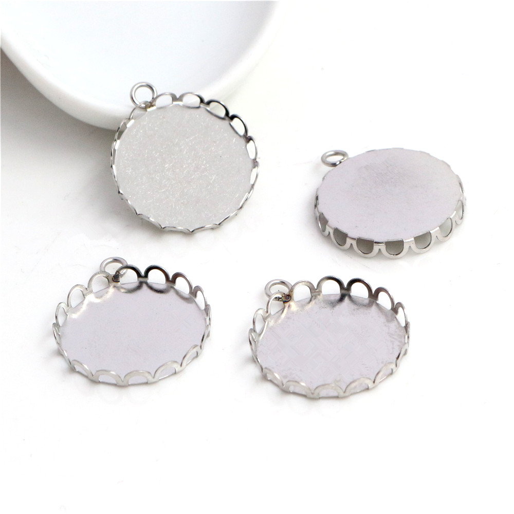 ( No Fade ) 10pcs 20mm Inner Size Stainless Steel Material Simple Style Cabochon Base Cameo Setting Charms Pendant Tray (T5-45)