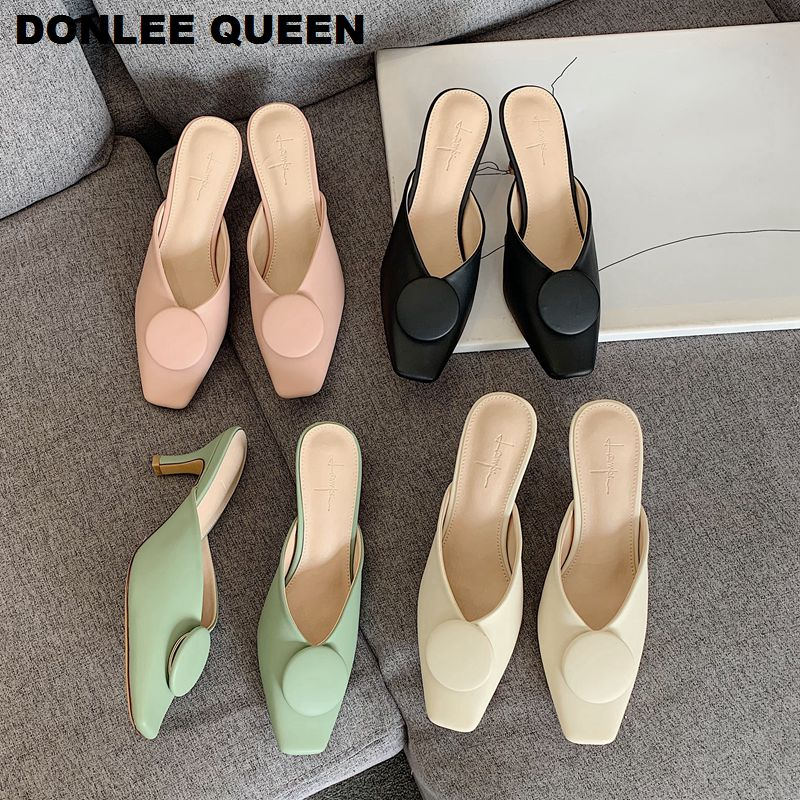 DONLEE QUEEN Slippers Women Brand Slides Ladies Low Heels Square Toe Mules Shoes Women Fashion Round Buckle Shoe Outdoor Slipper
