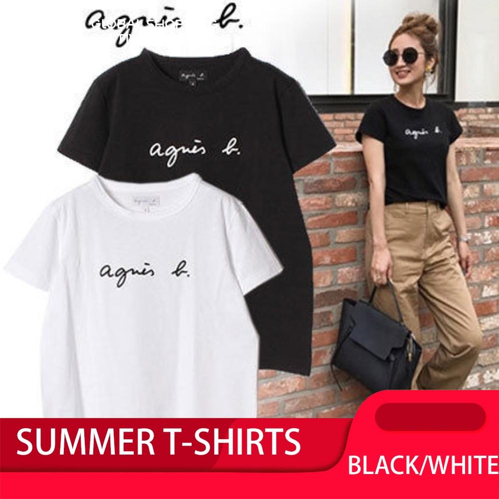 T-Shirt Women Short-Sleeve Letter Loose Solid-Alphabet Black White Korea Fashion Summer