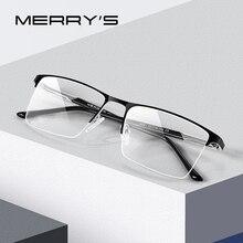 MERRYS Montura de aleación para gafas para hombre, anteojos masculinos de diseño ultraligeros, cuadrados, adecuados para miopía, graduadas, estilo de negocios, S2051