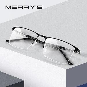 Image 1 - MERRYS conception de lunettes pour hommes, monture de lunettes en alliage carré demi optique ultraléger, Style Business, pour myopie, Prescription, S2051