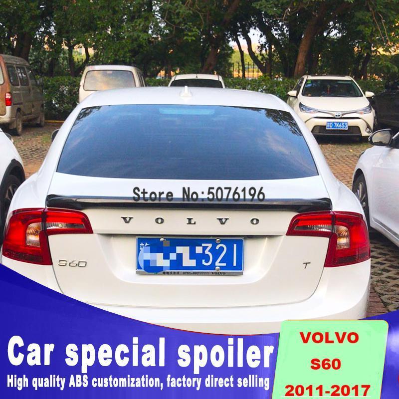 Becquet de berline universel avec feux de freinage pour Volvo S60 S60L 2011-2017 ABS plastique voiture arrière aile coffre becquet Sport noir