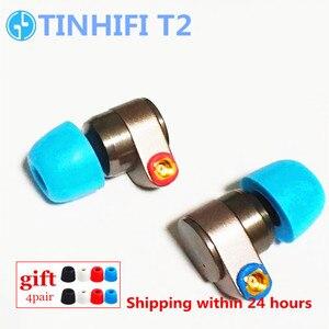 Image 2 - TINHIFI T2 באוזן אוזניות דינמי כונן HIFI בס אוזניות מתכת אוזניות עם להחלפה כבל אוזניות T3 T2 פרו T1 24h ספינה