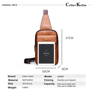 Image 2 - Celinv Koilm High Quality Men Chest Bags Split Leather Large Size Crossbody Bag Daypacks For Young Man Brand Sling Bags Unisex