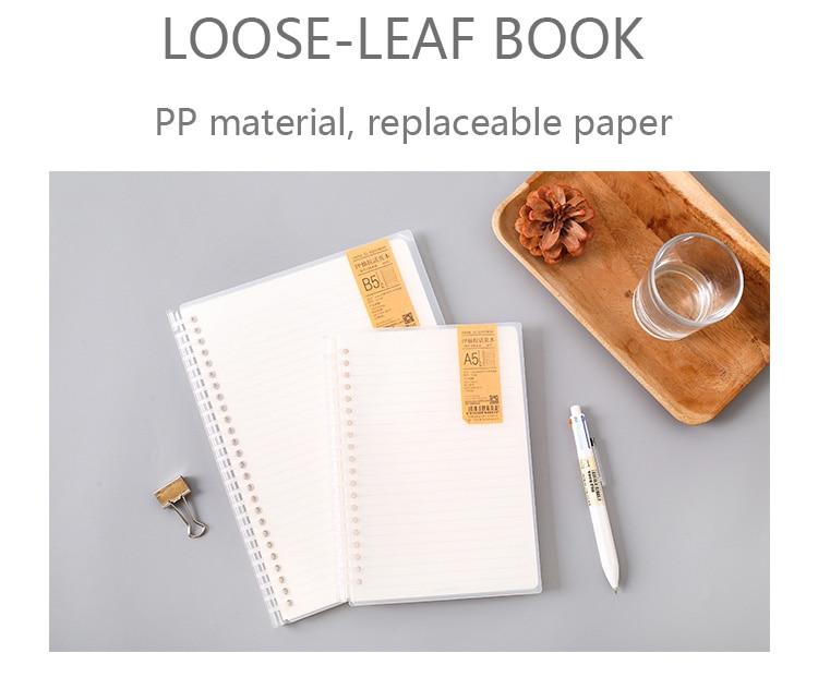 Caderno transparente dos pp da loose-folha a5