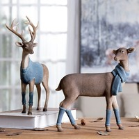 Wearing A Blue Sweater Deer Sculpture Metal Statuette Retro Resin Home Decor Art Gift Figurines Home Decoration Accessories