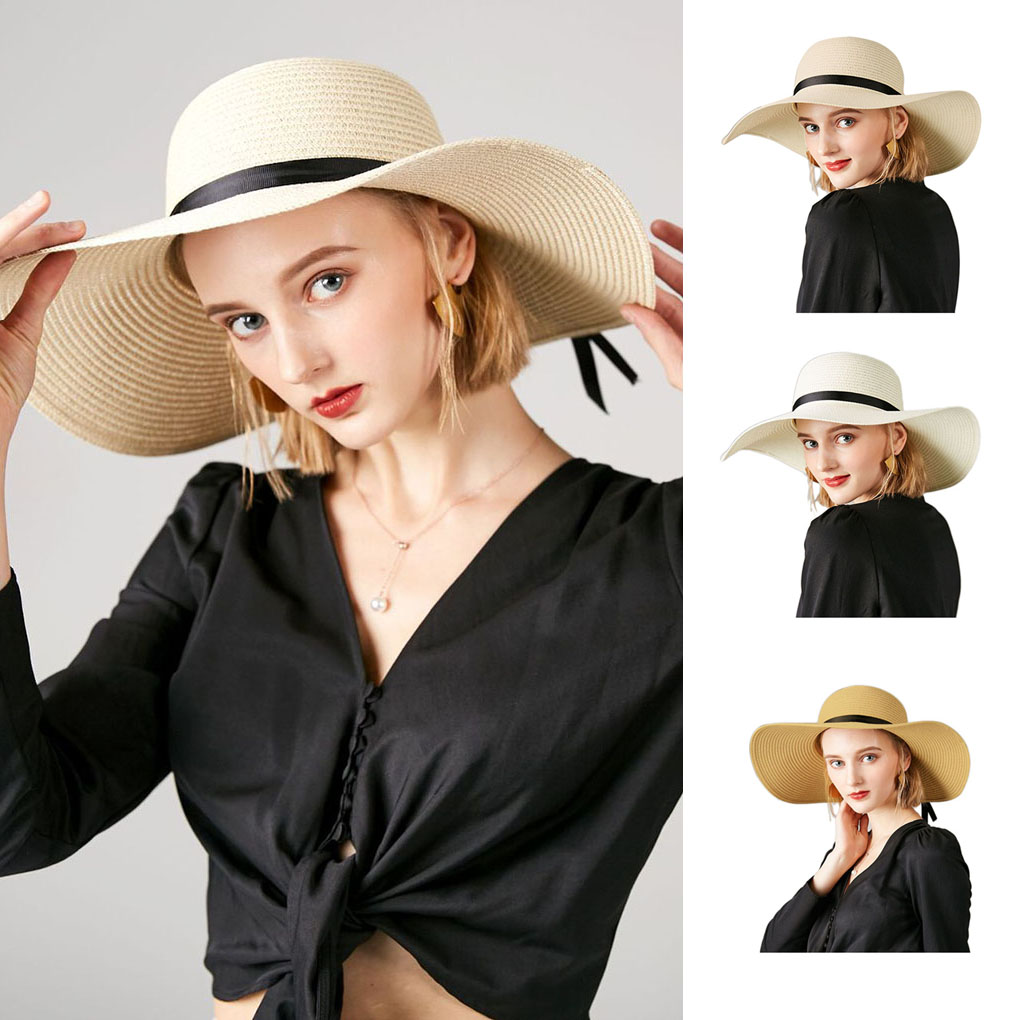 Hot Summer Wide Big Brim Floppy Straw Hats Sun Hats For Women UV Protection Panama Boho Beach Hats Ladies Bow Hat