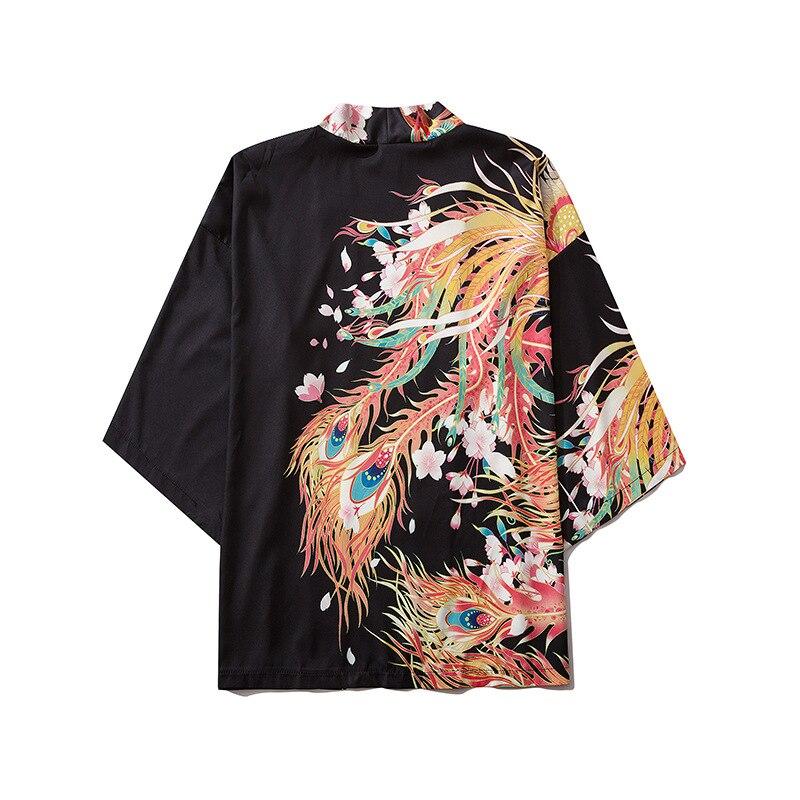 Японское кимоно азиатская юката женские Топы Harajuku японский традиционный Восток этнический кардиган-кимоно унисекс тонкие свободные блузк...