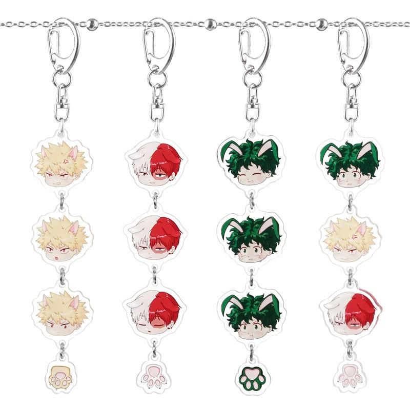 Anime My Hero Academia Keychain Midoriya Izuku Todoroki Shouto Bakugo Katsuki Cute Cartoon Acrylic Key Chain Combination Pendant