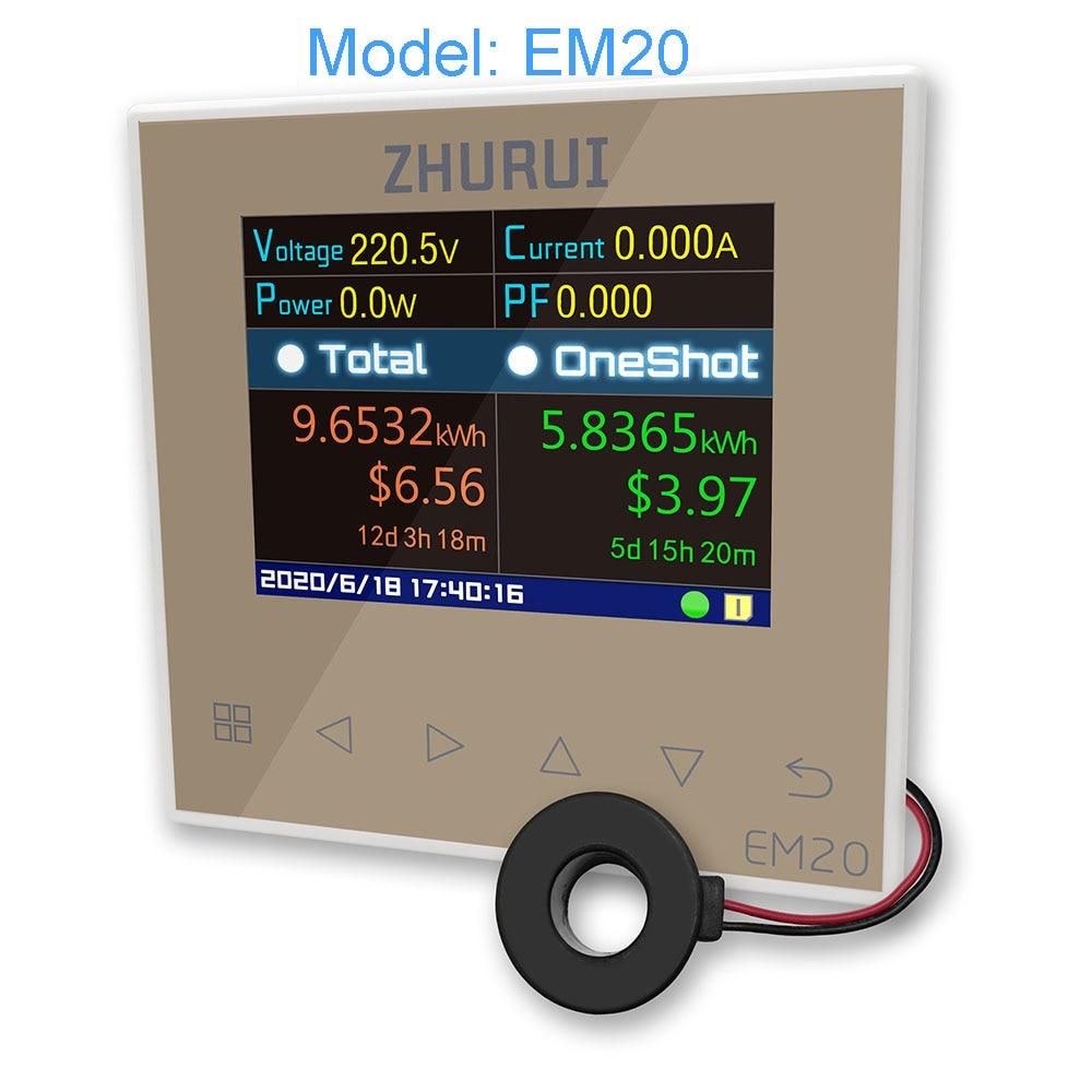ZHURUI EM20/EM20-ER с внешним реле/счетчик энергии/40/60/80/120A/измерение всего дома/счетчик электроэнергии/23 валюты