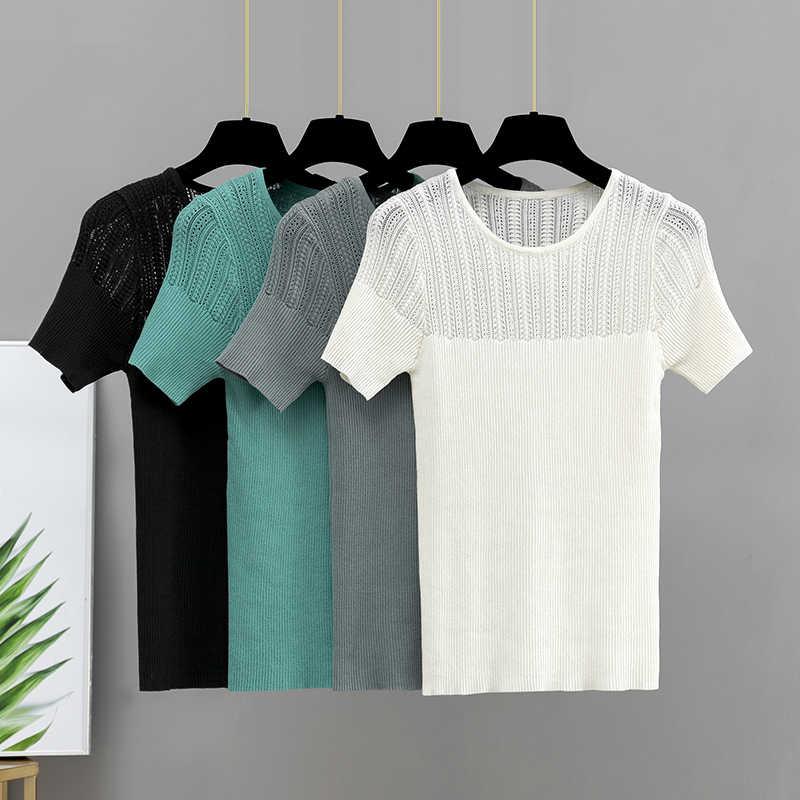 Gigogou Hollow Out Zomer Vrouwen T-shirt Mode Gebreide Korte Mouwen Top O Hals Basic Geribbelde Vrouwelijke T-shirt