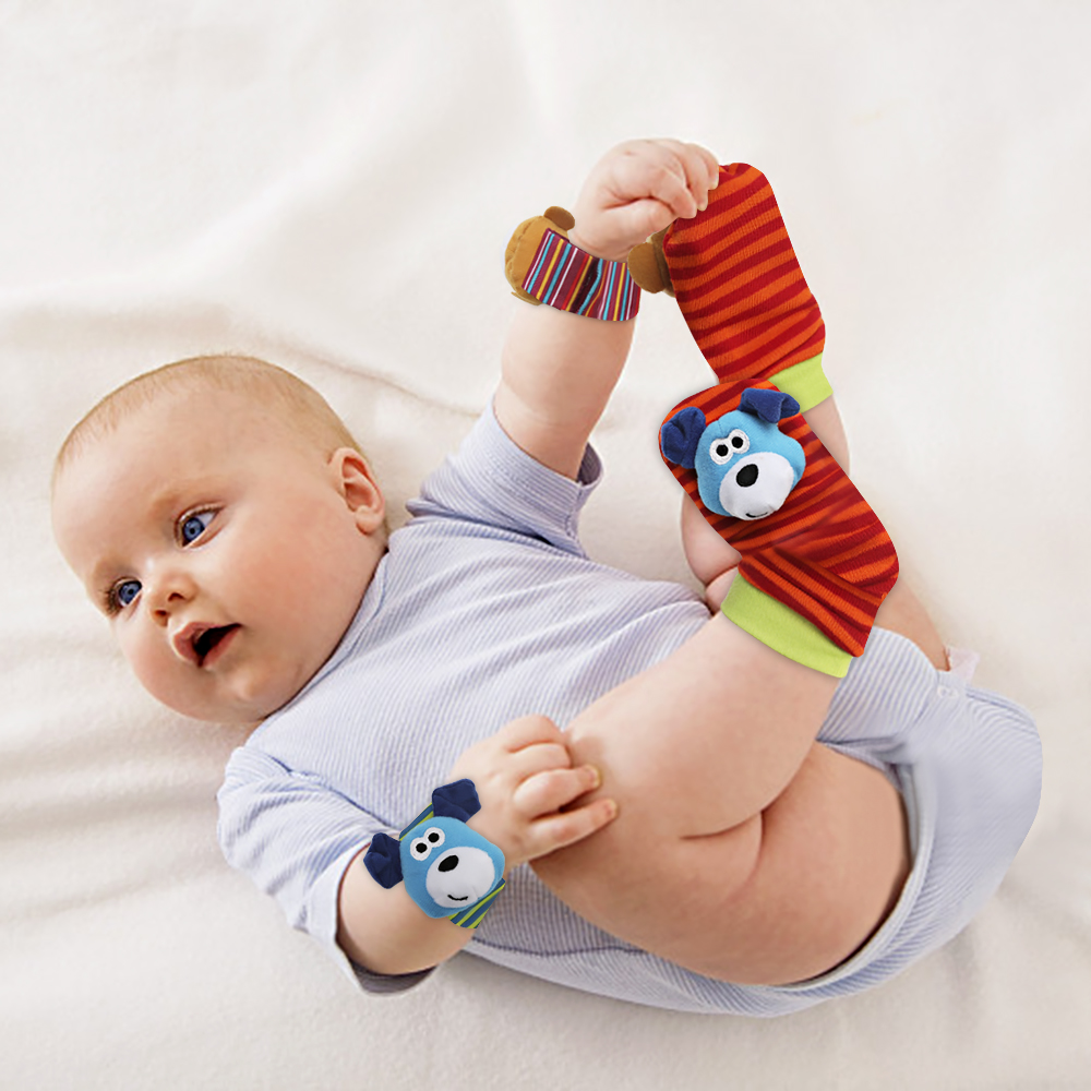 Infant Baby Kids Socks Rattle Toys Wrist Rattle Cute Cartoon Print Socks Wrist Strap With Rattle Baby Rattle Toys