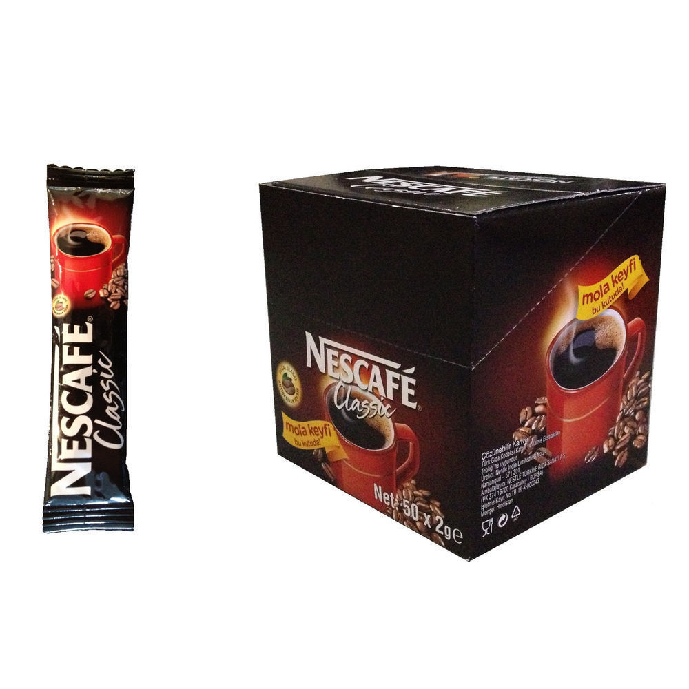 50x Stick Instant Packets Nescafe Classic DARK ROAST Instant Coffee NO SUGAR
