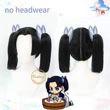 Kanzaki Aoi Anime Demon Slayer Kimetsu No Yaiba Cosplay Heat Resistant Synthetic black Hair Wig+ Free Wig Cap(no Headwear)