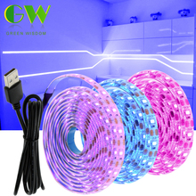5V LED Strip Light USB 2835SMD RGB Diode Tape 0 5M 1M 2M 3M Flexible Neon Ribbon for TV Backlight PC Screen Background Lighting cheap Green Wisdom CN(Origin) living room Always On Epistar Pink Ice Blue Warm White White Purple RGB SMD2835 ROHS DC5V Flexible LED Lamp Tape