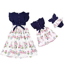 2021 Family Matching Outfits Clothes Summer Long Dresses Women Mother Daughter Beach Maxi Bandage Bodycon Dress Baby Girl Kids
