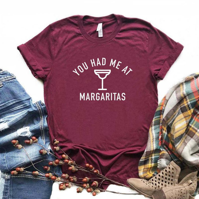 You Had Me At Margaritas Print Women tshirt Cotton Casual Funny t shirt Gift For Lady Yong Girl Top Tee 6 Color Drop Ship S-990 image